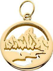 HP025; 14K Yellow Gold X-Small Teton Charm w/Textured Mountains