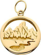 HP027; 14K Yellow Gold X-Small Teton Charm w/Textured Mountains and River