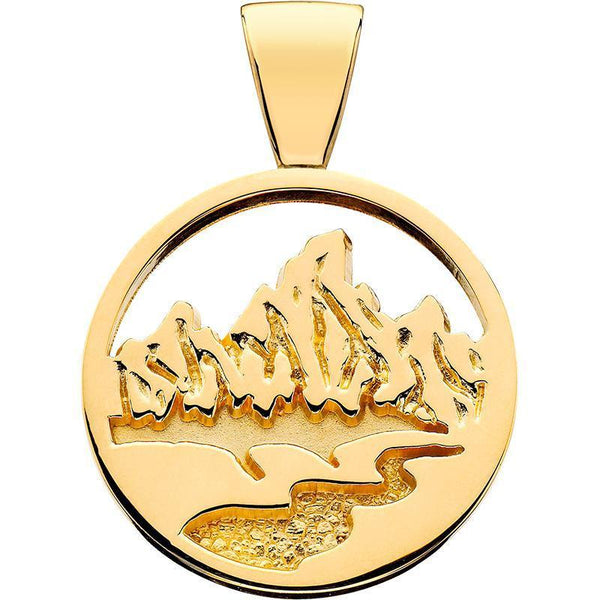 HP028; 14K Yellow Gold X-Small Teton Pendant w/Textured Mountains and River