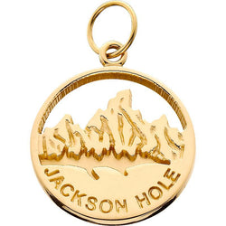 HP029; 14K Yellow Gold X-Small 'Jackson Hole' Charm w/Textured Mountains