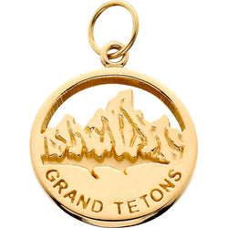 HP030; 14K Yellow Gold X-Small 'Grand Tetons' Charm w/Textured Mountains