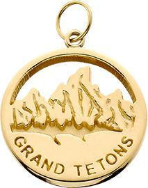 HP039; 14K Yellow Gold Small 'Grand Tetons' Charm w/Textured Mountains