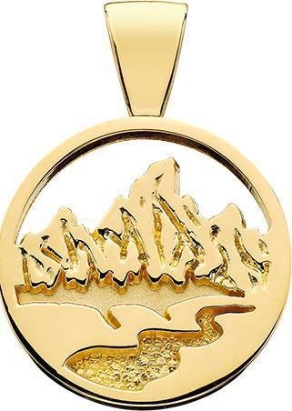 HP071;  14K Yellow Gold X-Large Teton Pendant w/Textured Mountains and River