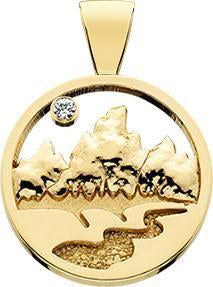 HP137; 14K Yellow Gold Small Teton Pendant w/Raised Mountains and Textured River