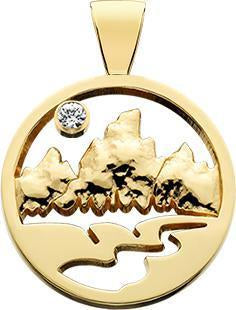 HP151; 14K Yellow Gold Medium Teton Pendant w/Raised Mountains and Textured River