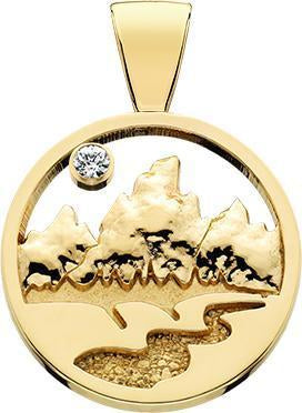 HP161; 14K Yellow Gold Large Teton Pendant w/Raised Mountains and Textured River