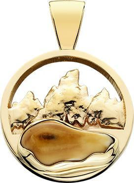 HP167; 14K Yellow Gold Large Teton Pendant w/Raised Mountains and an Elk Ivory