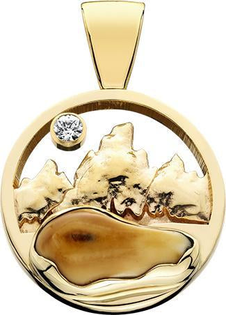 HP177; 14K Yellow Gold X-Large Pendant w/Raised Mountains and an Elk Ivory