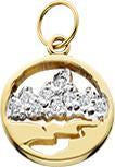HP420; 14K Yellow Gold Mini Teton Charm w/Diamond Pave Mountains and Pierced Background