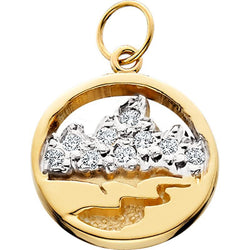 HP421; 14KY Mini Teton Charm w/ .06ct Diamond Pave on the mountains, Pierced Sky, Lt.weight bail