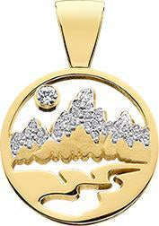 HP426; 14K Yellow Gold X-Small Teton Pendant w/Diamond Pave Mountains and a Pierced Background