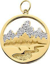 HP427; 14K Yellow Gold X-Small Teton Charm or Pendant w/Diamond Pave Mountains and Textured River