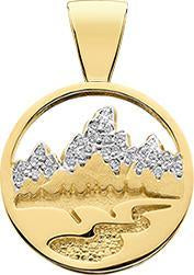 HP428; 14K Yellow Gold X-Small Teton Pendant w/Diamond Pave Mountains and Textured River