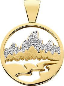 HP436; 14K Yellow Gold Small Teton Pendant w/Diamond Pave Mountains and a Pierced Background