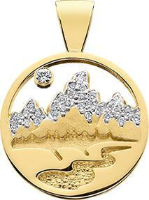 HP437; 14K Yellow Gold Small Teton Pendant w/Diamond Pave Mountains, Pierced Sky and Textured River