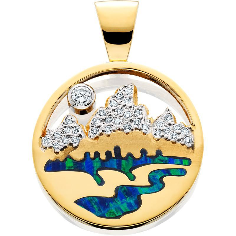 HP443; 14K Yellow Gold Small Teton Pendant w/Diamond Pave Mountains and Opal Inlay