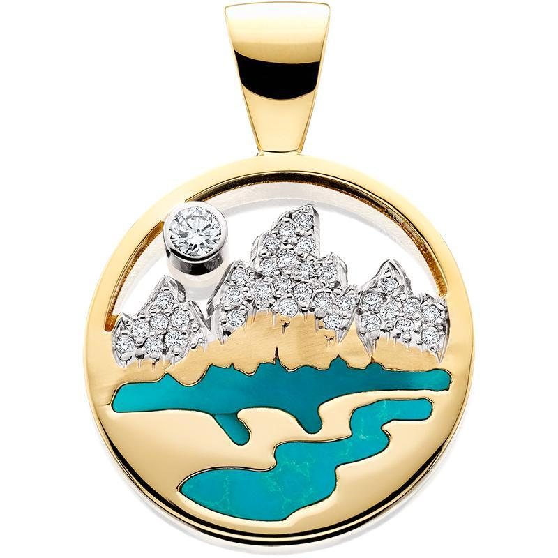 HP444; 14K Yellow Gold Small Teton Pendant w/Diamond Pave Mountains, Turquoise Inlay and Pierced Sky