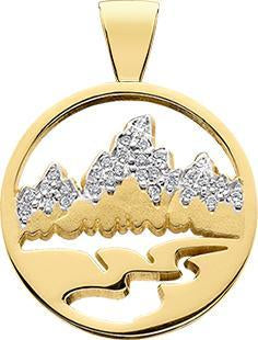 HP450; 14K Yellow Gold Medium Teton Pendant w/Diamond Pave Mountains and Pierced Background