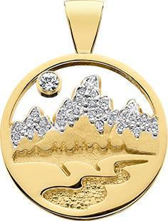 HP451; 14K Yellow Gold Medium Teton Pendant w/Diamond Pave Mountains and Textured River