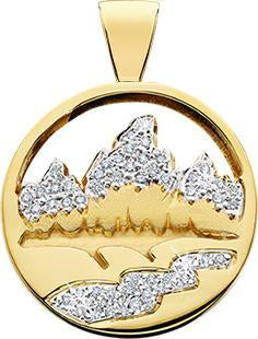 HP452; 14K Yellow Gold Medium Teton Pendant w/Diamond Pave Mountains and River