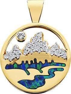 HP454; 14K Yellow Gold Medium Teton Pendant w/Diamond Pave Mountains and Opal Inlay