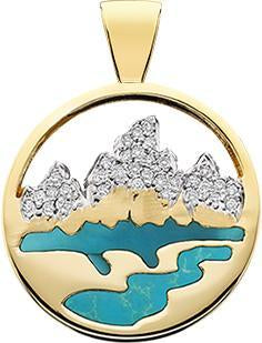 HP455; 14K Yellow Gold Medium Teton Pendant w/Diamond Pave Mountains and Turquoise Inlay
