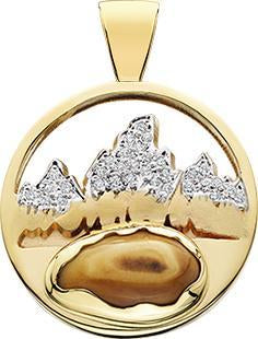 HP457; 14K Yellow Gold Medium Teton Pendant w/Diamond Pave Mountains and Elk Ivory
