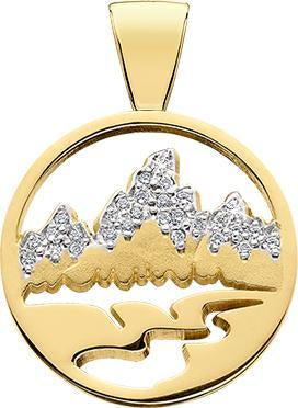 14KY LG Teton Pendant, Diamond Pave, Pierced Background