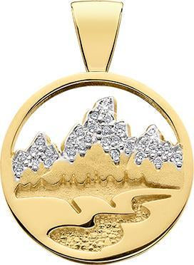 HP461; 14K Yellow Gold Large Teton Pendant w/Diamond Pave Mountains and Textured River