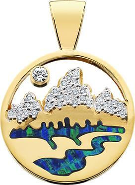 HP464; 14K Yellow Gold Large Teton Pendant w/Diamond Pave Mountains and Opal Inlay