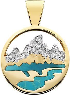 HP465; 14K Yellow Gold Large Teton Pendant w/Diamond Pave Mountains and Turquoise Inlay