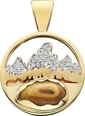 HP467; 14K Yellow Gold Large Teton Pendant w/Diamond Pave Mountains and Elk Ivory