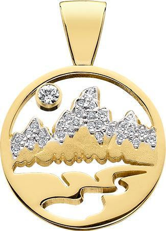 HP470; 14K Yellow Gold X-Large Teton Pendant w/Diamond Pave Mountains and Pierced Background
