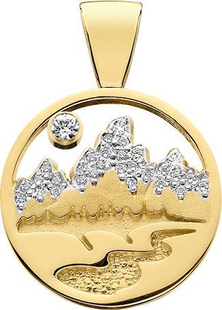 HP471;  14K Yellow Gold X-Large Teton Pendant w/Diamond Pave Mountains and Pierced Sky