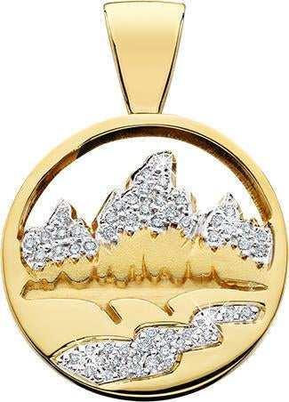 HP472; 14K Yellow Gold X-Large Teton Pendant w/Diamond Pave Mountains & River and a Pierced Sky