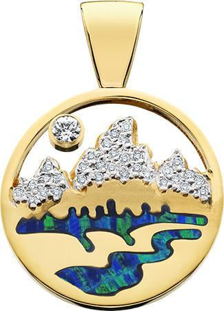 HP474; 14K Yellow Gold X-Large Teton Pendant w/Diamond Pave Mountains, Opal Inlay and Pierced Sky