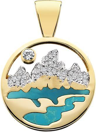 HP475;  14K Yellow Gold X-Large Teton Pendant w/Diamond Pave Mountains, Turquoise Inlay and Pierced Sky
