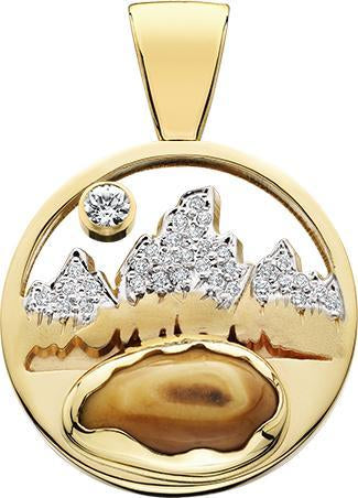 HP477; 14K Yellow Gold X-Large Teton Pendant w/Diamond Pave, Elk Ivory Bottom and Pierced Sky