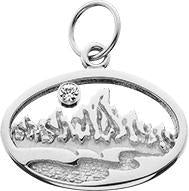 HP601; Silver Small Teton Oval Charm w/Textured Mountains and River