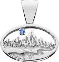 HP602; Silver Small Oval Teton Pendant w/Textured Mountains and River