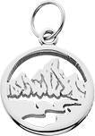 HP620; Silver Mini Teton Charm w/Textured Mountains