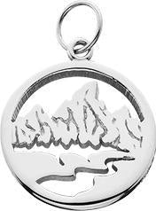 HP625; Silver X-Small Textured Teton Charm w/Textured Mountains