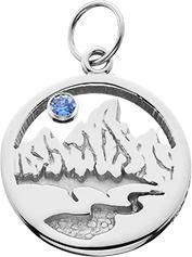HP627; Silver X-Small Textured Teton Charm w/Textured Mountains and River