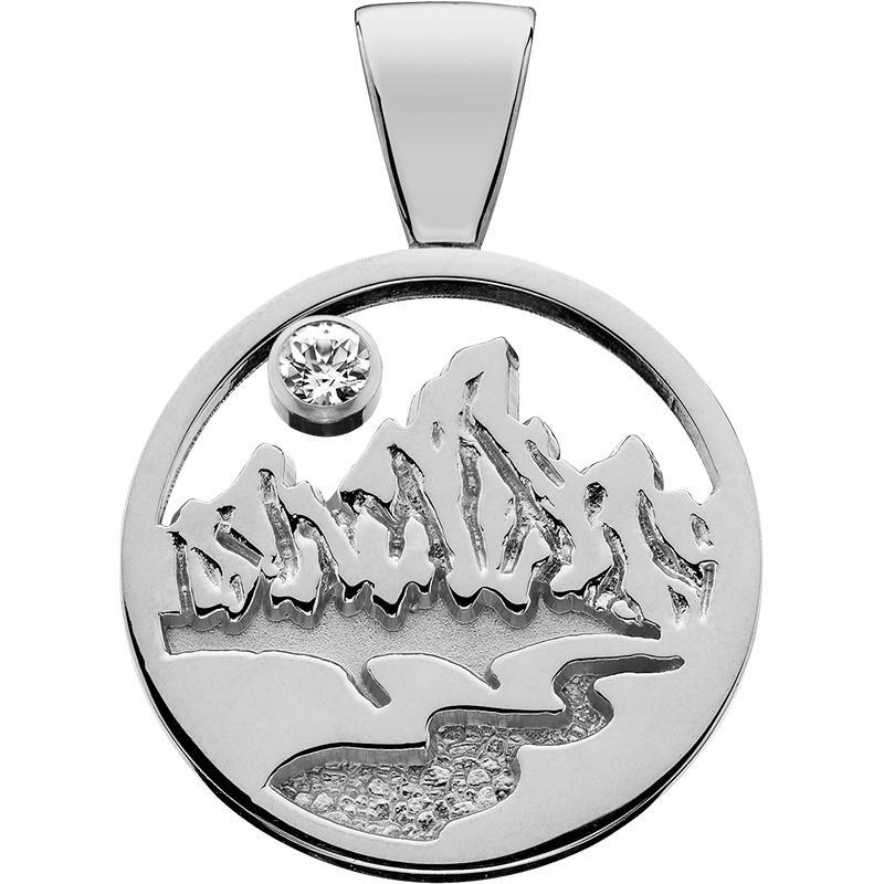 HP628; Silver X-Small Teton Pendant w/Textured Mountains and Filled River