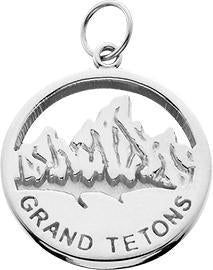 HP639; Silver Small 'Grand Tetons' Charm w/Textured Mountains