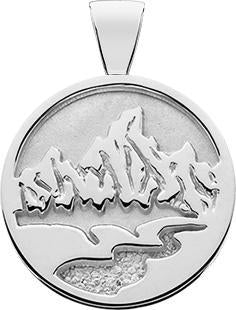 SS MD Textured Teton Pendant, Solid Background, Bail