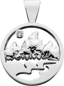 HP736; Silver Small Teton Pendant w/Raised Mountains