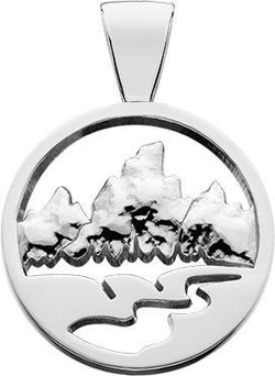 HP760; Silver Large Teton Pendant w/Raised Mountains