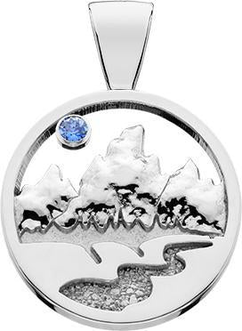 HP761; Silver Large Teton Pendant w/Raised Mountains and a Textured River