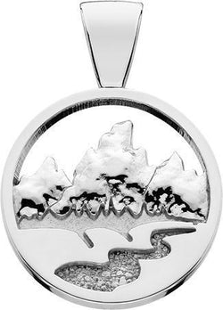 HP771; Silver X-Large Teton Pendant w/Raised Mountains and Textured River